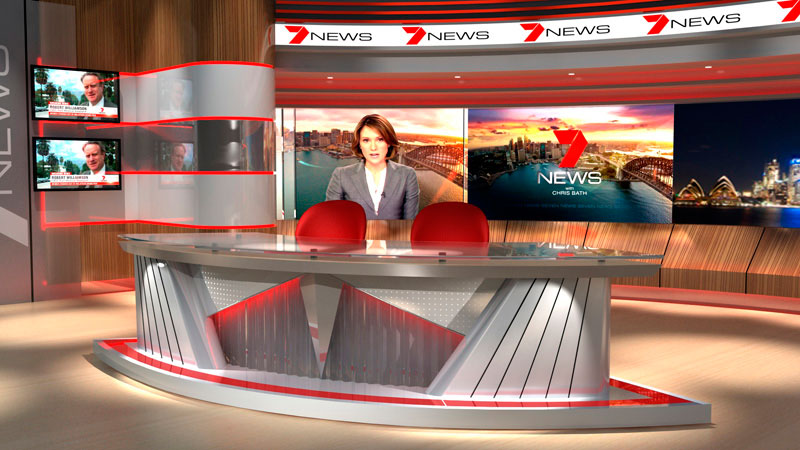 3d visual of Current Channel Seven News Host Set, Melbourne