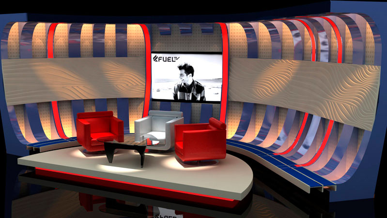 3d artist impression for Fuel Tv set