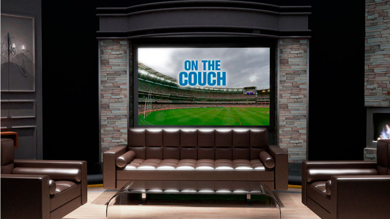3d set visual of On The Couch with Eddie Maguire
